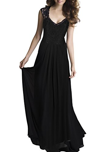 PAKULA Women's Casual Deep V Neck Sleeveless Vintage Maxi Dress Black Medium