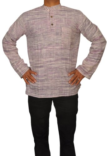 Handmade Casual Wear Indian Khadi Mens Short Kurta Fabric For Winter & Summers Size-6XL