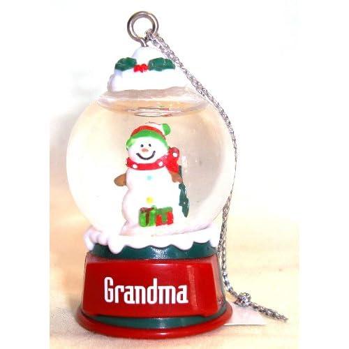 Grandma Christmas Snowman Snow Globe Ornament
