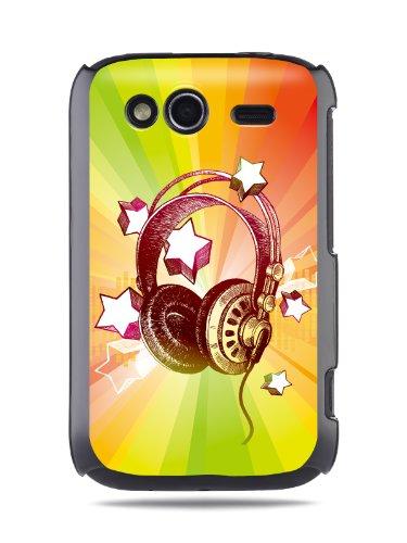 "Grüv Premium Case - ""Colorful Music Dj Headphones & Stars"" Design - Best Quality Designer Print On Black Hard Cover - For Htc G13 Wildfire S"