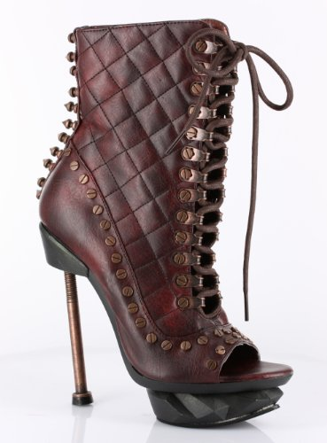 68c52a84e5b9 Victorian High Heel Lace Up Front Granny Ankle Boot w  Rivets - Women s Sz  6 Burgundy