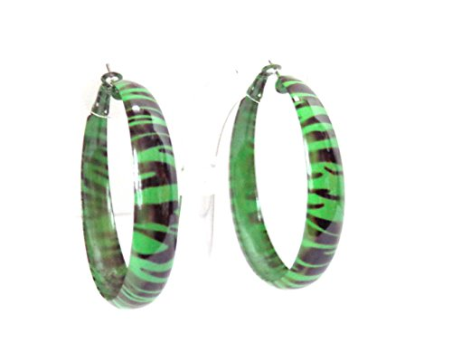 Green Zebra Print Hoop Earrings Metal Hoops 2 inch Hoop