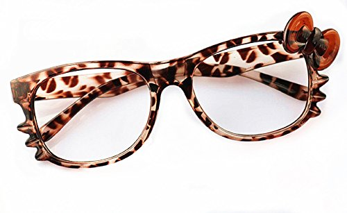 10 FancyG® Cute Nerd Glass Frame Bow Tie Knot Cat Eyes for Girls Leopard NO LENS