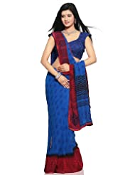 Utsav Fashion Women's Red and Dark Royal Blue Faux Georgette Saree with Blouse