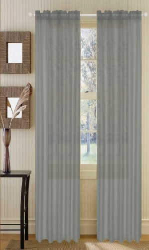 Onestopshop 39 S Silver Grey Voile Sheer Panel Drape Curtain
