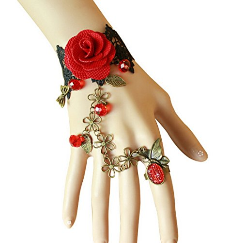Gothic Lolita Rose Black Lace Slave Bracelet with Ring Beads Jewelry Set