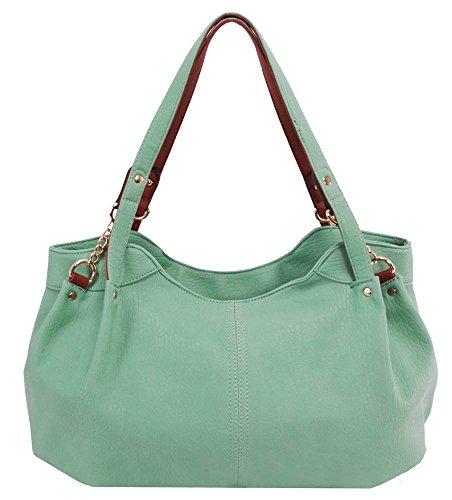 Pebble-Grain-Faux-Leather-Handbag-in-Green