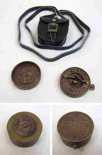 Handtooled Handcrafted Brass Pocket Sundial Donald Compass W/ Faux Leather Case