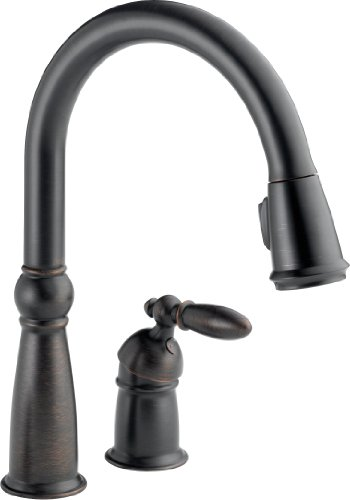 Delta 955-RB-DST Victorian Single Handle Pull-Down Kitchen Faucet, Venetian Bronze