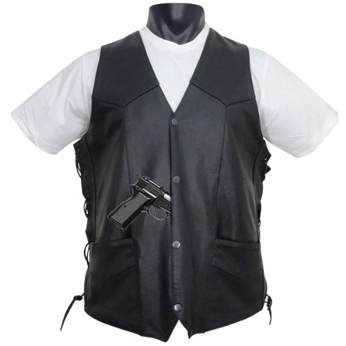 Tall Size Concealed Carry Classic Biker Leather Vest 2XL