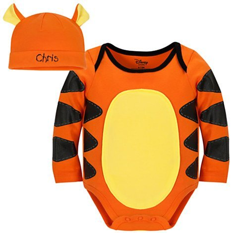 [Disney Store Tigger Halloween Costume Onesie Bodysuit with Hat Size 6-12 Months] (Tigger Costume Makeup)
