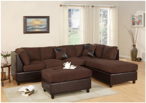 Huntington 3 Pcs Sectional Sofa Set W/ Ottoman Reversible In Chocolate Color