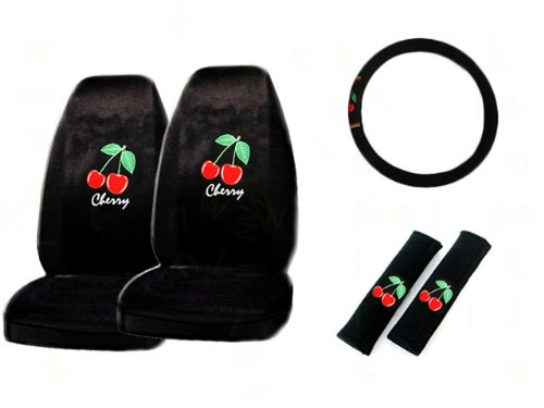5-Piece Cherry Red Auto Interior Gift Set- A Set of 2 Universal Fit Seat Covers, 1 Steering Wheel Cover, and 2 Shoulder Pads