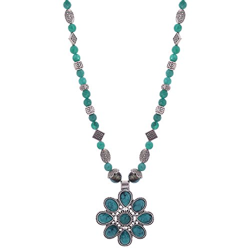 Iris Sea Green Necklace With A Pretty Flower Pendant And Geman Silver Spacers (Multicolor)