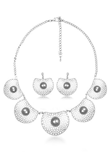 BIG Tree Black Antique Silver Circular Necklace Set For Women.