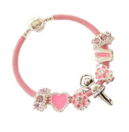 Treasured Charms & Beads Childrens/Girls Genuine Leather Sparkling Pink & Silver Ballerina Theme Charm Bracelet