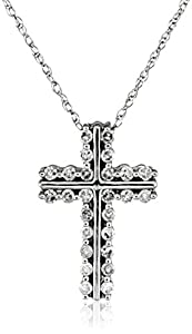 10k White Gold Diamond Cross Pendant Necklace (1/4 cttw, I-J Color, I2-I3 Clarity), 18""