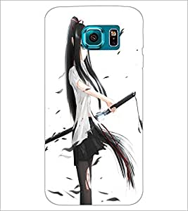 PrintDhaba Girl with Sword D-1203 Back Case Cover for SAMSUNG GALAXY S6 (Multi-Coloured)