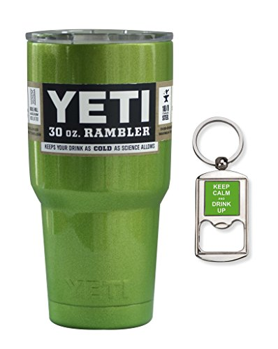 YETI Rambler Cup Custom Colors, 30 oz, Stainless Steel Tumbler, Travel Mug, Powder Coated (Metallic Green Sour Apple)