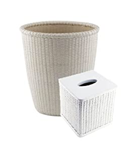 Bathroom Sets Bathroom Trash Can Waste Baskets Tissue Box Covers Sets Wicker White