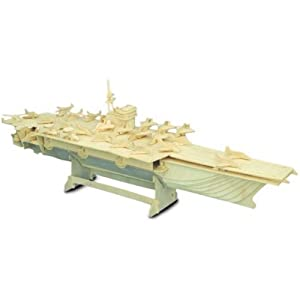 Woodcraft Construction Kit Fsc Aircraft Carrier Wooden Model Game Building Toy