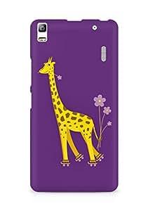 Amez designer printed 3d premium high quality back case cover for Lenovo A7000 (Purple giraffe)