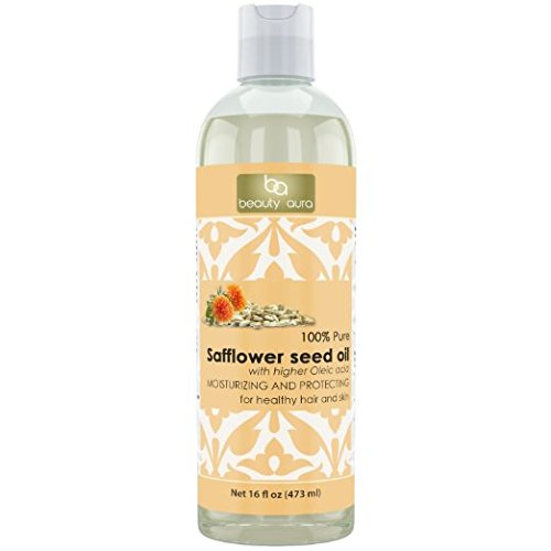 Beauty Aura 100% Pure Safflower Oil Is Pressed From Best Quality Safflower Seeds. - No Synthetic Preservatives, Colors or Fragnances, 16 Ounce
