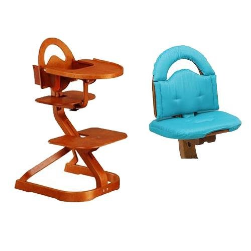 Svan High Chair from Scandinavian Child with Infant Kit and Cushion, Turquoise Cushion with Cherry Wood