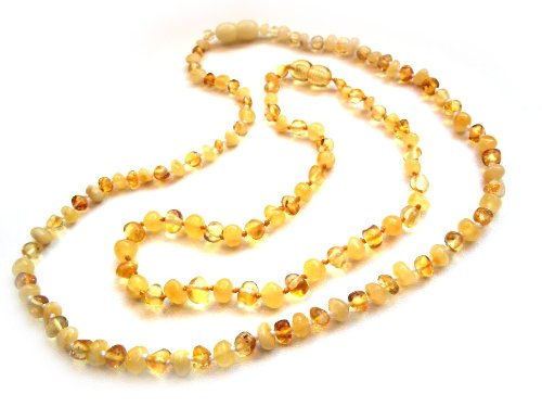 Amberta® Set of 2 Baltic Amber Necklaces for Mother and Child - Baroque Shaped Beads - White and Lemon Colour [MS08]