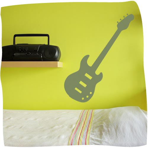 Electric Guitar Wall Art Sticker 1 Large - Vinyl Sticker Wall Art Deco Decal 60Cm Height,24Cm Width - Black Vinyl