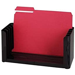 Rubbermaid The Folder 5-Slot Personal File Holder, 12-1/2 To 15-3/4W, 5-3/4Dx6H, Black (RUB16420)