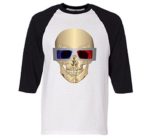Skull 3D Glasses Raglan Baseball T-Shirt