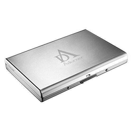 Adorner Portafoglio con porta carte di credito, per 4 carte + fissati Fermasoldi, elegante, superficie liscia, in acciaio INOX