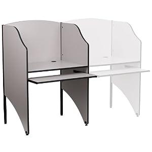 Flash Furniture Mt-m6201-gy-gg Starter Study Carrel In Nebula Grey Finish Gray by Flash Furniture