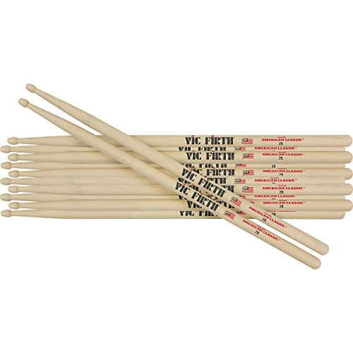 Vic Firth 6-Pair American Classic Hickory Drumsticks Wood 2B (Wood 2B)