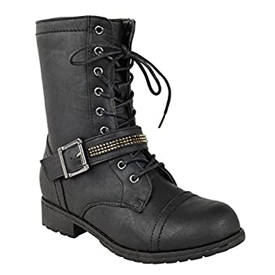NEW LADIES WOMENS FLAT LOW HEEL LACE UP ARMY MILITARY BIKER ZIP ANKLE BOOTS SIZE