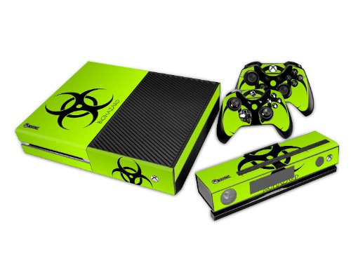 Tqs™ Designer Skin Sticker For Xbox One Console With Two Free Wireless Controller Decals- Biological Hazard