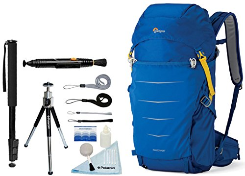 Lowepro Photo Sport BP 300 AW II Waterproof Photo Backpack (Blue) + Accessory Bundle For Canon, Nikon, Sony, Olympus, Pentax Digital SLR Cameras