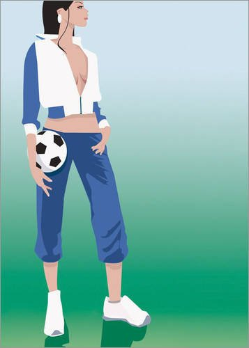 canvas football girl in size: 50 x 70 cm by B.