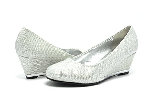 Sassy Sexy ELLE-2 New Women's Faux Suede/Glitter Upper Low Wedge Heels Pumps Shoes,ELLE-2-SILVER,9 B(M) US