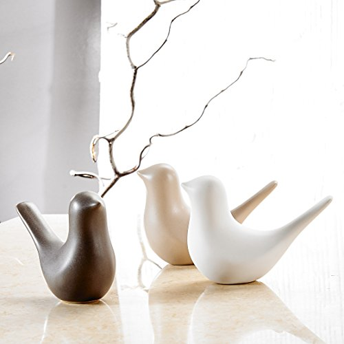 Pure.Lifestyle - Abstract Birds(Set of 3) - Three Colors Ceramic Decoration Animals Figurine Porcelain Sculptures Statues Crafts Wedding Gifts Welcome Home Warming Christmas Gift Birthday Presents