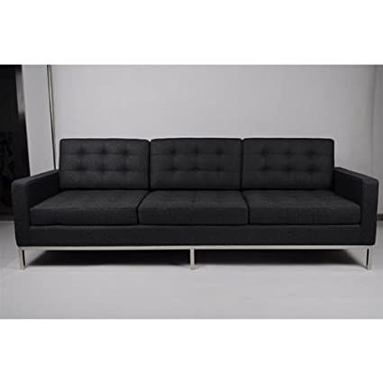 Fine Mod Imports Button Wool Sofa, Black
