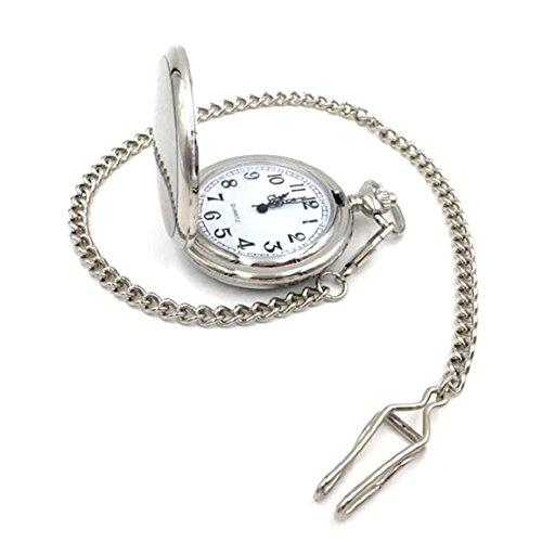 Bessky(TM) Pocket Watch,Fashion Vintage Smooth Full-Hunter White Dial Steel Polish Quartz Pocket Watch (Silver)
