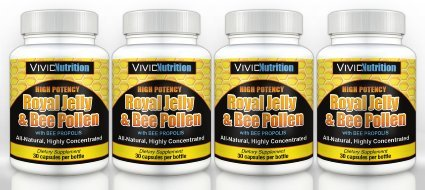 Vivid Nutrition High potency Royal Jelly & Bee Pollen with Bee Propolis - All-Natural, Highly Concentrated Formula (4 bottle)