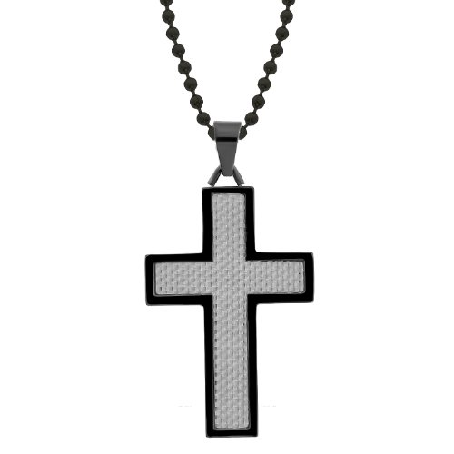 Men's Stainless Steel and Silver Carbon Fiber with Black Ionic Plating Cross Pendant Necklace , 22