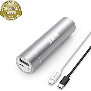 [Apple MFi Certified] Anker 2nd Gen Astro Mini 3200mAh Portable Charger with PowerIQ Technology (Silver) + 3ft / 0.9m Lightning Cable for iPhone 6 Plus / 5, iPad 4 / Air / mini / mini 2 and iPod touch (White) from RAVPower