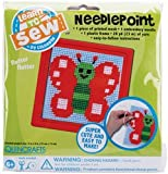 Colorbok Butterfly Learn To Sew Needlepoint Kit, 6-Inch by 6-Inch, Red Frame