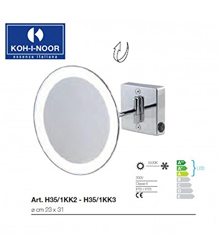 Koh-I-Noor H35/1KK2 Specchio Ingranditore X2 Discolo LED, Cromo