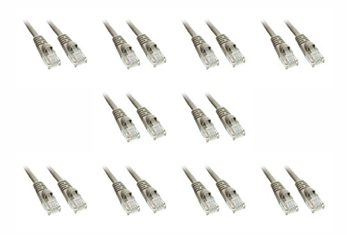 C&E Cat5e Grey Ethernet Patch Cable, Snagless/Molded Boot, 35-Feet, 10-Pack (10X6-02135)
