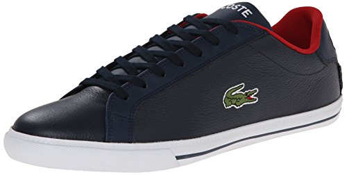 Lacoste Men's Grad Vulc TS Casual Shoe Fashion Sneaker, Dark Blue/Red, 10.5 M US